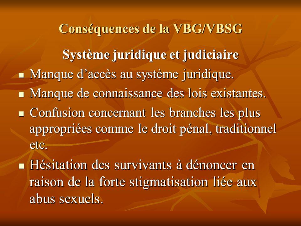 Conséquences de la VBG/VBSG Système juridique et judiciaire Manque daccès au système juridique. Manque daccès au système juridique. Manque de connaiss