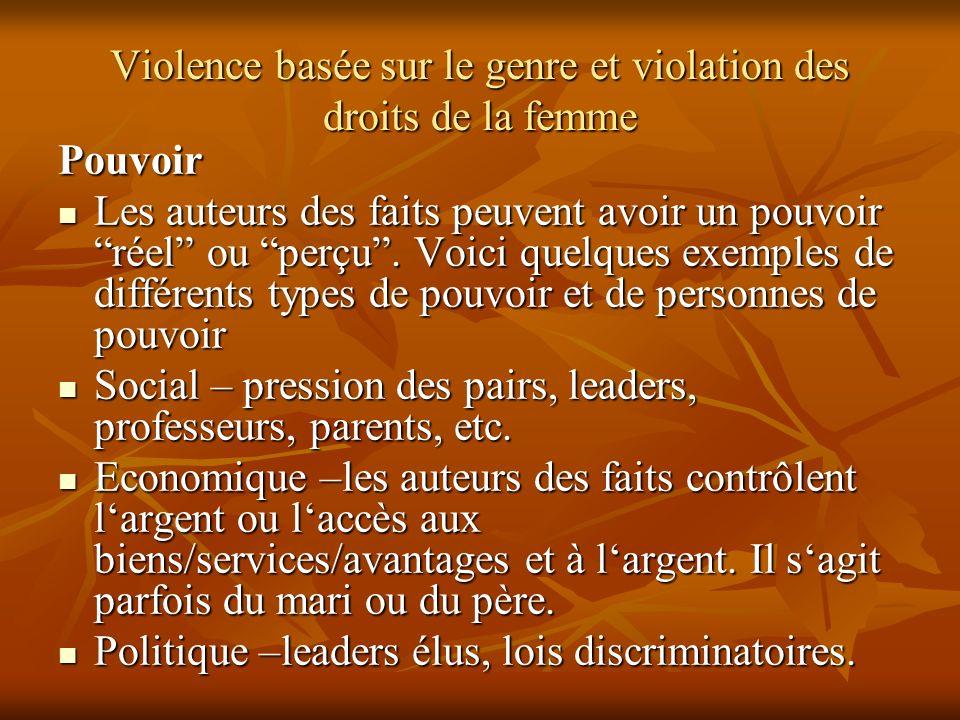 Violence basée sur le genre et violation des droits de la femme Pouvoir Les auteurs des faits peuvent avoir un pouvoir réel ou perçu. Voici quelques e