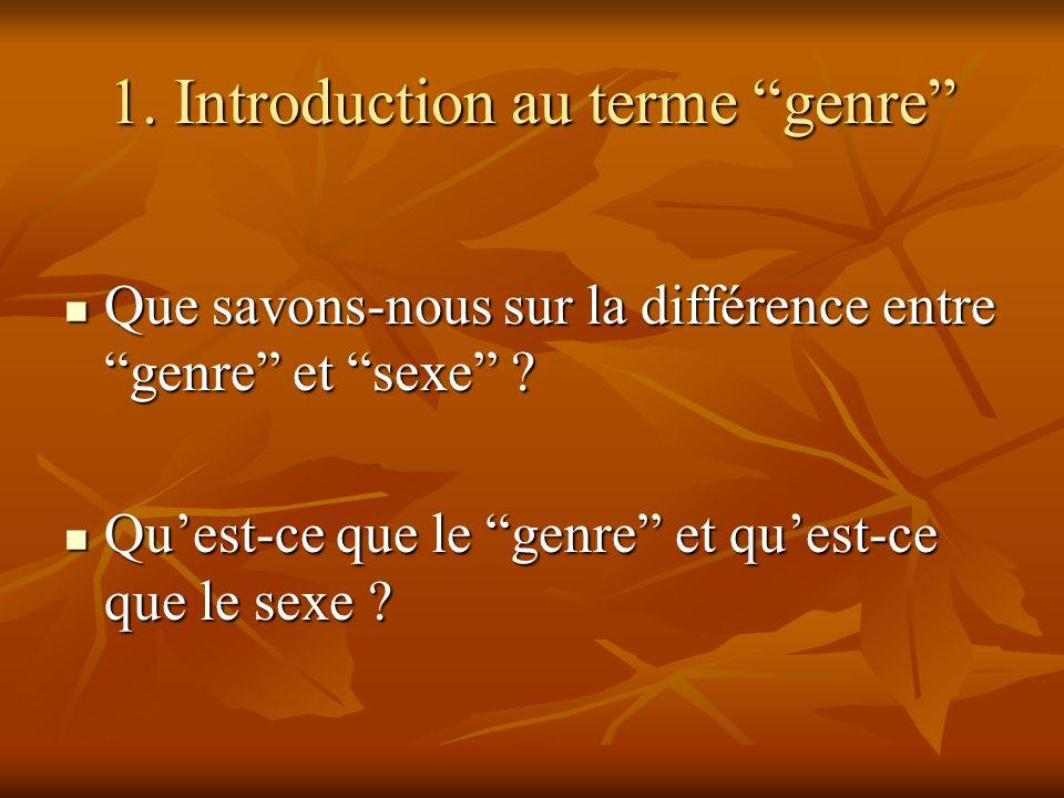 1. Introduction au terme genre Que savons-nous sur la différence entre genre et sexe ? Que savons-nous sur la différence entre genre et sexe ? Quest-c