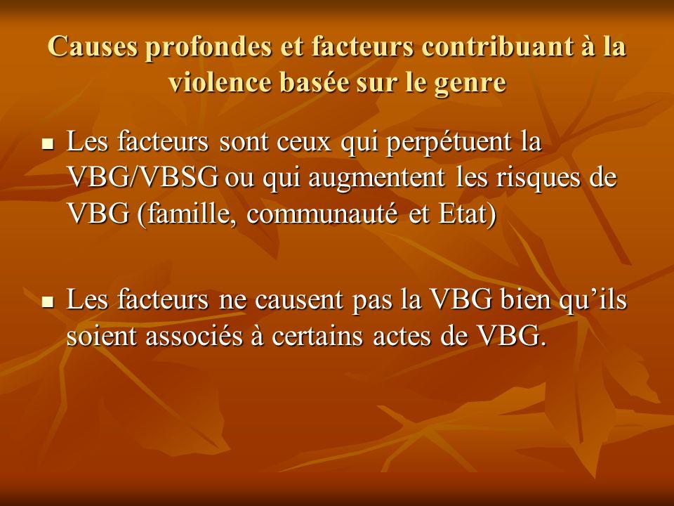 Causes profondes et facteurs contribuant à la violence basée sur le genre Les facteurs sont ceux qui perpétuent la VBG/VBSG ou qui augmentent les risq