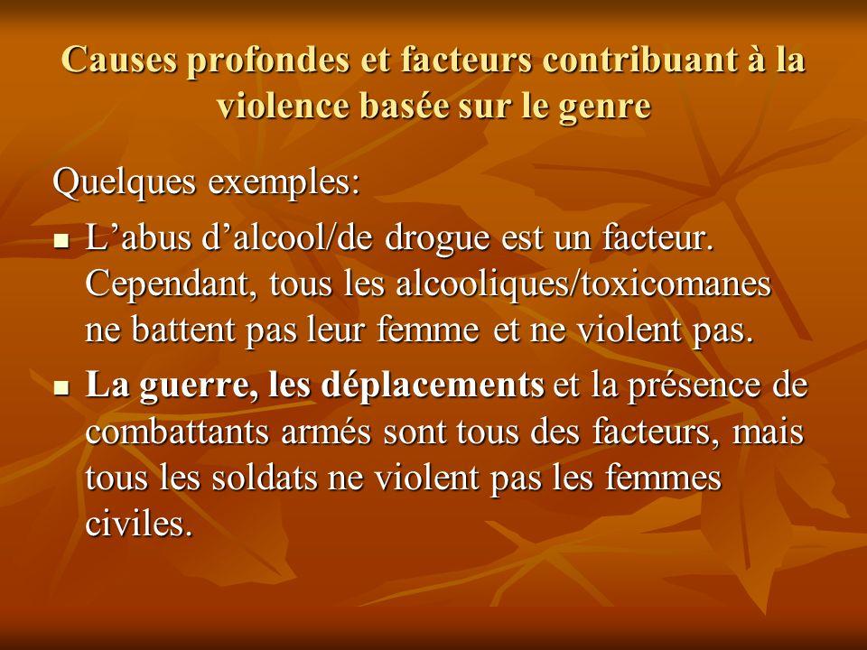 Causes profondes et facteurs contribuant à la violence basée sur le genre Quelques exemples: Labus dalcool/de drogue est un facteur. Cependant, tous l
