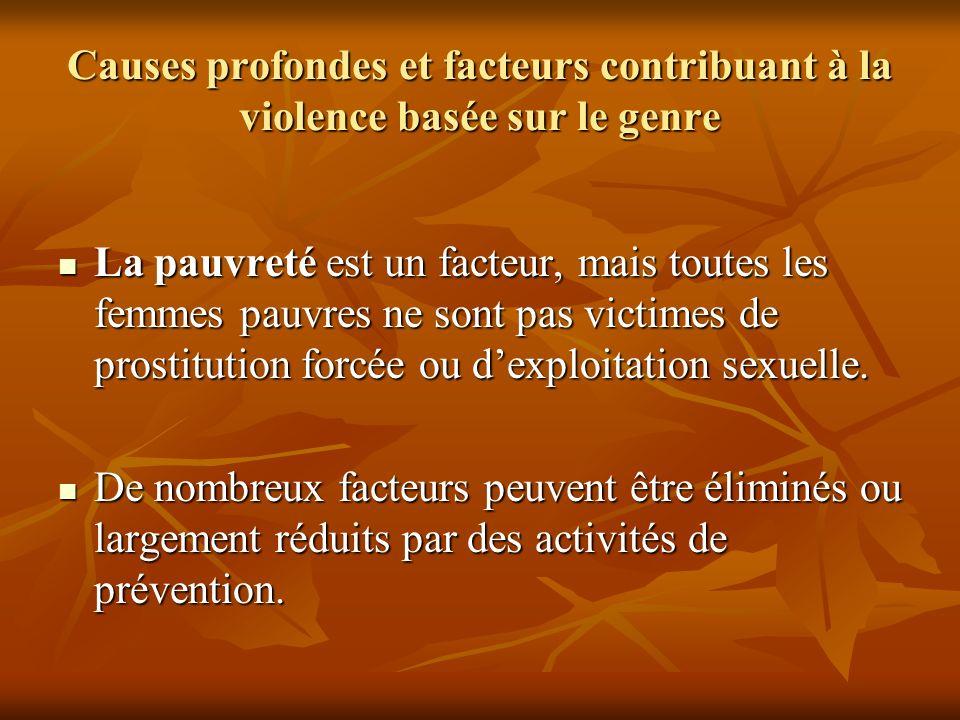 Causes profondes et facteurs contribuant à la violence basée sur le genre La pauvreté est un facteur, mais toutes les femmes pauvres ne sont pas victi