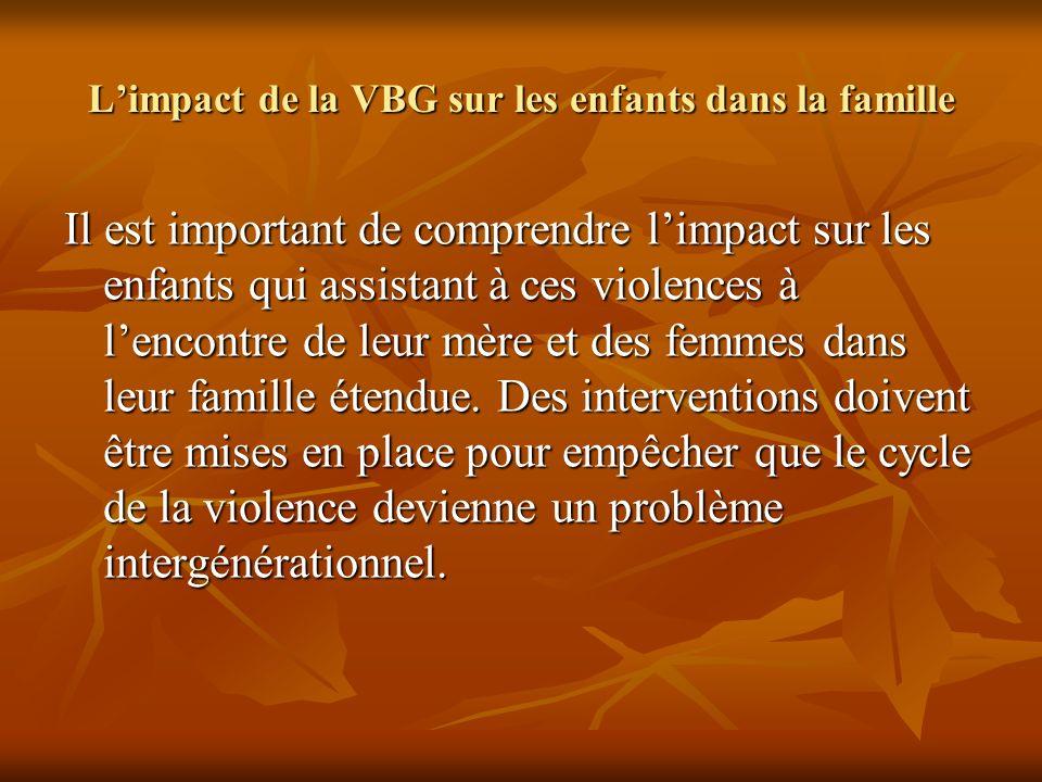 Limpact de la VBG sur les enfants dans la famille Il est important de comprendre limpact sur les enfants qui assistant à ces violences à lencontre de