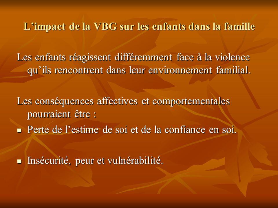 Limpact de la VBG sur les enfants dans la famille Les enfants réagissent différemment face à la violence quils rencontrent dans leur environnement fam