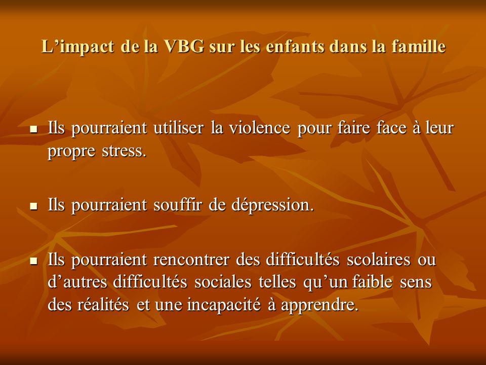 Limpact de la VBG sur les enfants dans la famille Ils pourraient utiliser la violence pour faire face à leur propre stress. Ils pourraient utiliser la