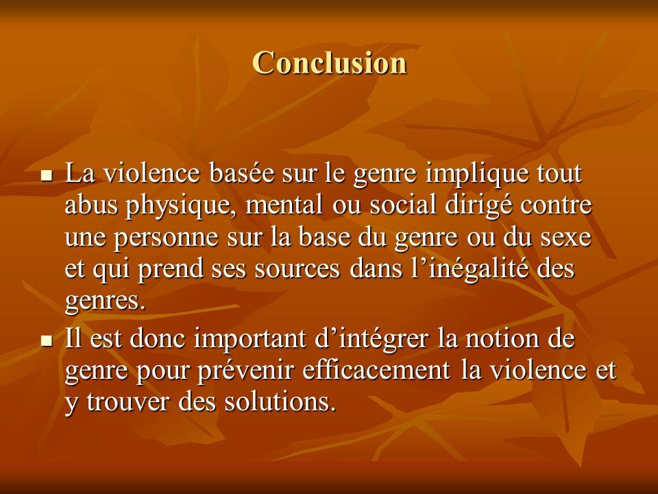 Conclusion La violence basée sur le genre implique tout abus physique, mental ou social dirigé contre une personne sur la base du genre ou du sexe et