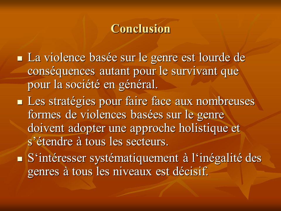 Conclusion La violence basée sur le genre est lourde de conséquences autant pour le survivant que pour la société en général. La violence basée sur le