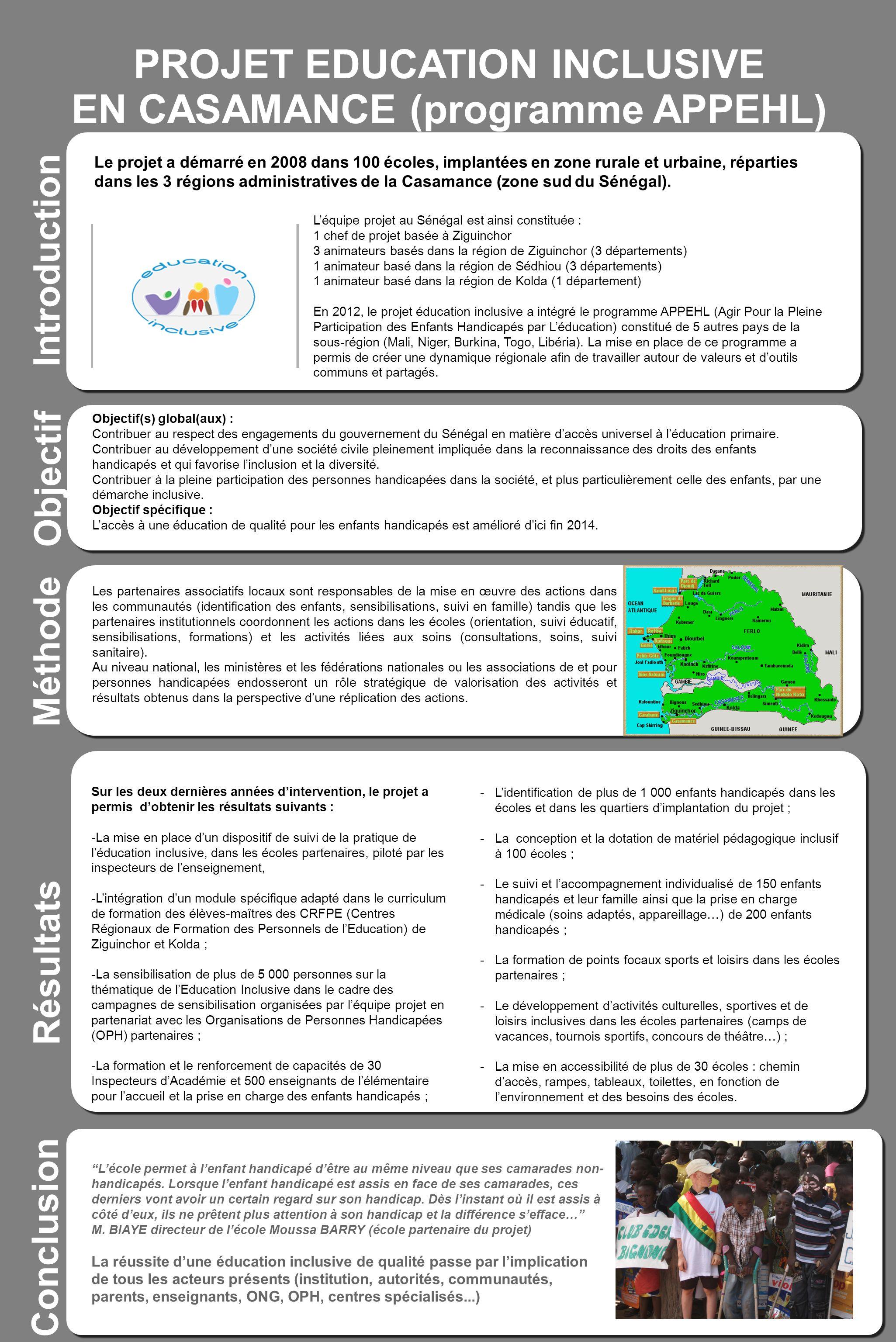 PROJET EDUCATION INCLUSIVE EN CASAMANCE (programme APPEHL) Sous-titre sous-titre sous-titre sous-titre sous-titre Introduction Méthode Résultats Sur l
