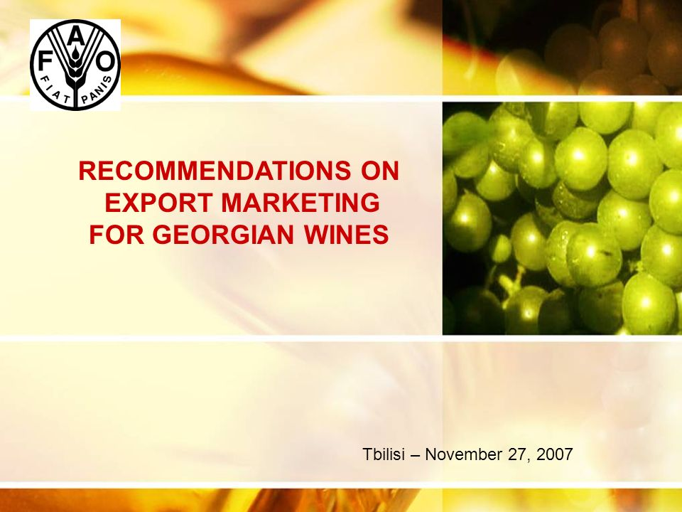 Cliquez et modifiez le titre Cliquez pour modifier les styles du texte du masque Deuxième niveau Troisième niveau Quatrième niveau Cinquième niveau 2 Export Marketing for Georgian wines Pre-requisite : having a clear vision on where Georgian could stand on the World Arena Wines made using modern wine making technologies, internationally spread and well known grape varietals 40-50% Wines made using modern technologies, with local autochthonous grape varieties.