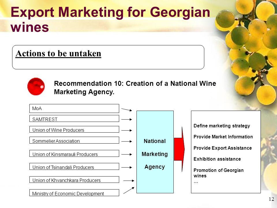 Cliquez et modifiez le titre Cliquez pour modifier les styles du texte du masque Deuxième niveau Troisième niveau Quatrième niveau Cinquième niveau 12 Export Marketing for Georgian wines Actions to be untaken Recommendation 10: Creation of a National Wine Marketing Agency.