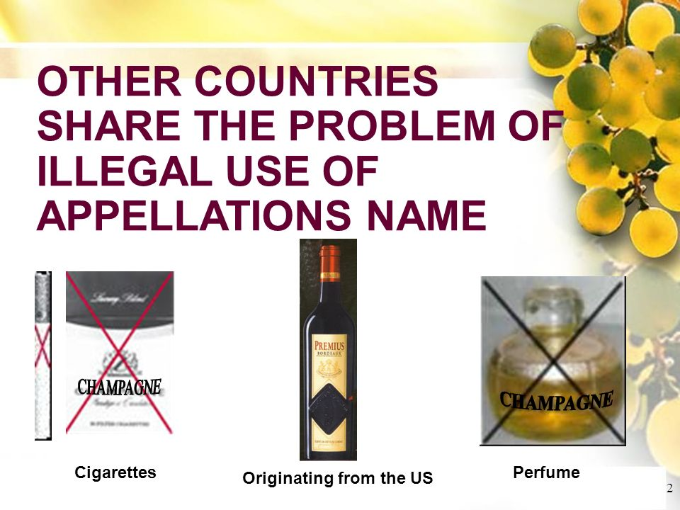 Cliquez et modifiez le titre Cliquez pour modifier les styles du texte du masque Deuxième niveau Troisième niveau Quatrième niveau Cinquième niveau 2 OTHER COUNTRIES SHARE THE PROBLEM OF ILLEGAL USE OF APPELLATIONS NAME Perfume Cigarettes Originating from the US