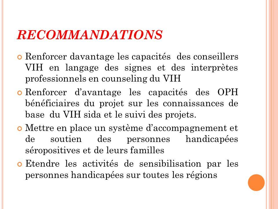 RECOMMANDATIONS Renforcer davantage les capacités des conseillers VIH en langage des signes et des interprètes professionnels en counseling du VIH Ren