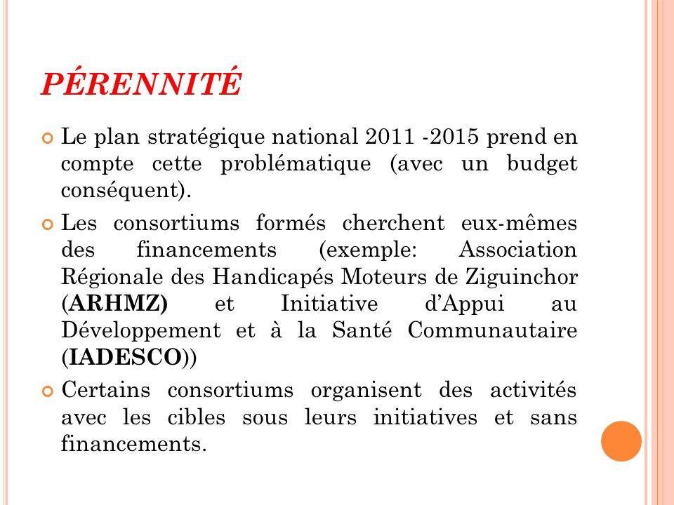 PÉRENNITÉ Le plan stratégique national 2011 -2015 prend en compte cette problématique (avec un budget conséquent). Les consortiums formés cherchent eu