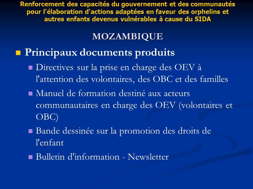 Principaux documents produits Directives sur la prise en charge des OEV à l'attention des volontaires, des OBC et des familles Manuel de formation des