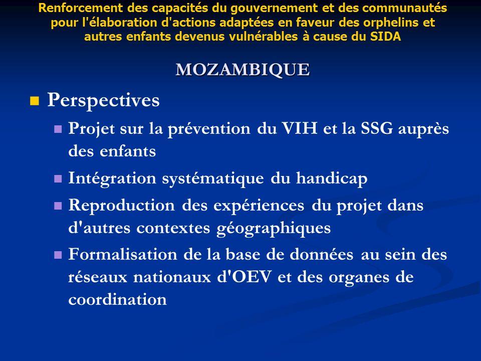 Perspectives Projet sur la prévention du VIH et la SSG auprès des enfants Intégration systématique du handicap Reproduction des expériences du projet