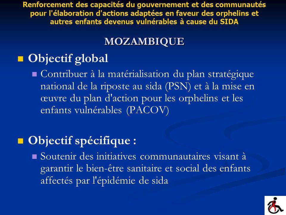 Objectif global Contribuer à la matérialisation du plan stratégique national de la riposte au sida (PSN) et à la mise en œuvre du plan d'action pour l