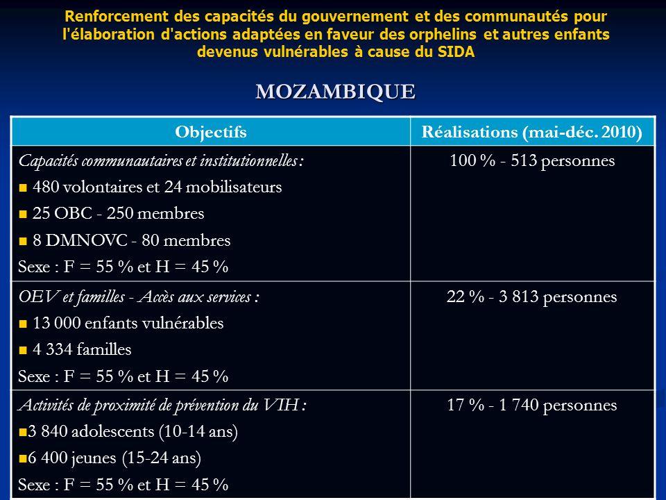 ObjectifsRéalisations (mai-déc. 2010) Capacités communautaires et institutionnelles : 480 volontaires et 24 mobilisateurs 25 OBC - 250 membres 8 DMNOV