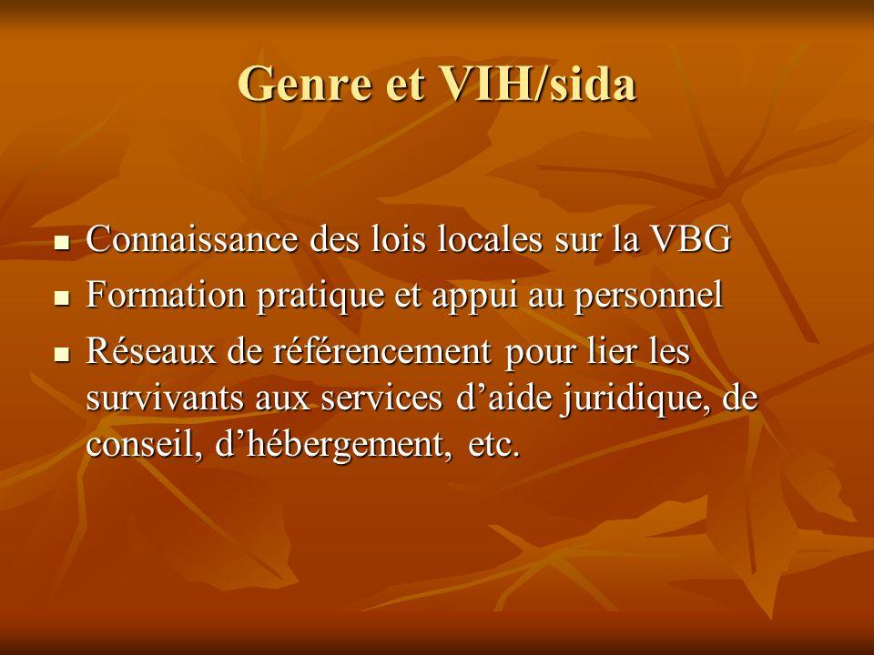 Genre et VIH/sida Connaissance des lois locales sur la VBG Connaissance des lois locales sur la VBG Formation pratique et appui au personnel Formation