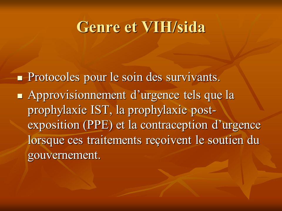 Genre et VIH/sida Protocoles pour le soin des survivants. Protocoles pour le soin des survivants. Approvisionnement durgence tels que la prophylaxie I