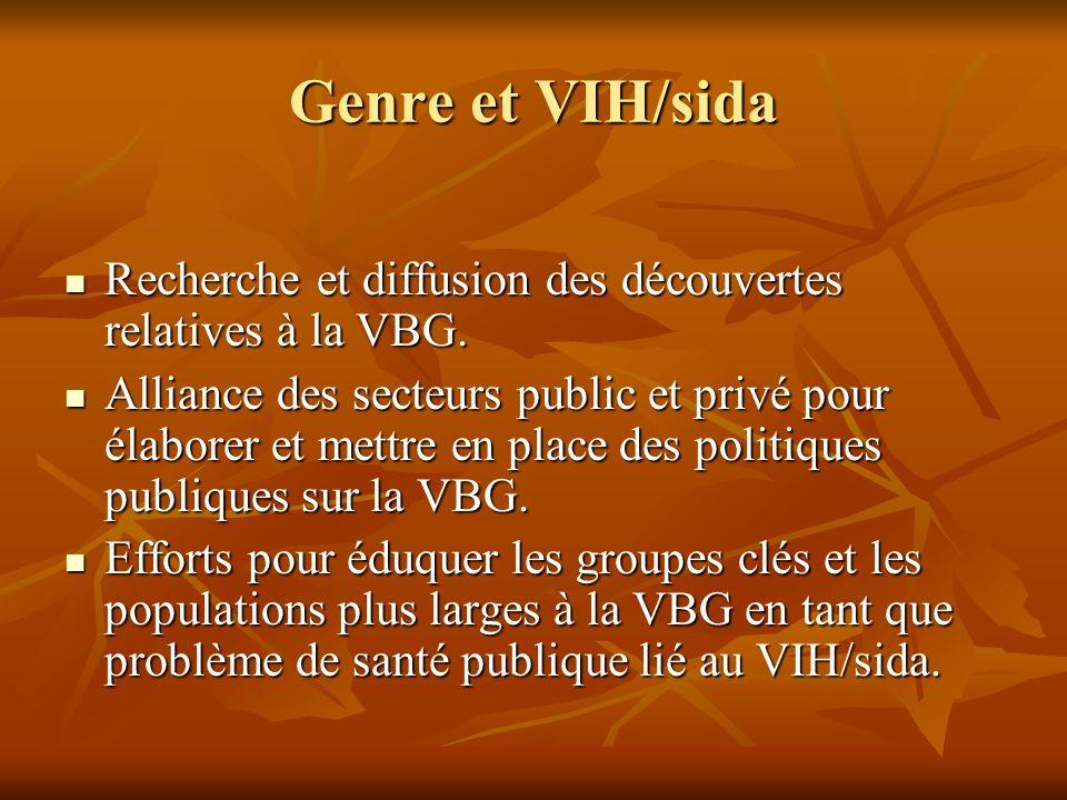Genre et VIH/sida Recherche et diffusion des découvertes relatives à la VBG. Recherche et diffusion des découvertes relatives à la VBG. Alliance des s