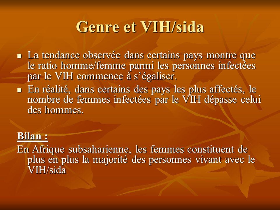 Genre et VIH/sida La tendance observée dans certains pays montre que le ratio homme/femme parmi les personnes infectées par le VIH commence à ségalise