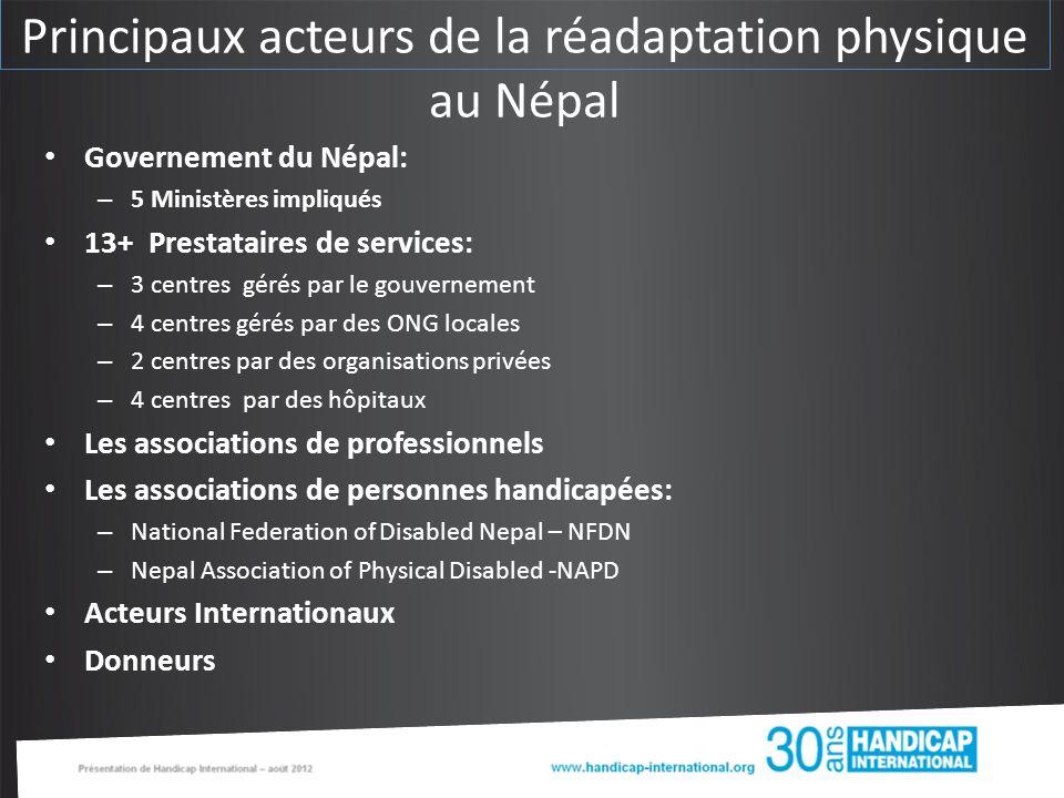 Principaux acteurs de la réadaptation physique au Népal Governement du Népal: – 5 Ministères impliqués 13+ Prestataires de services: – 3 centres gérés par le gouvernement – 4 centres gérés par des ONG locales – 2 centres par des organisations privées – 4 centres par des hôpitaux Les associations de professionnels Les associations de personnes handicapées: – National Federation of Disabled Nepal – NFDN – Nepal Association of Physical Disabled -NAPD Acteurs Internationaux Donneurs