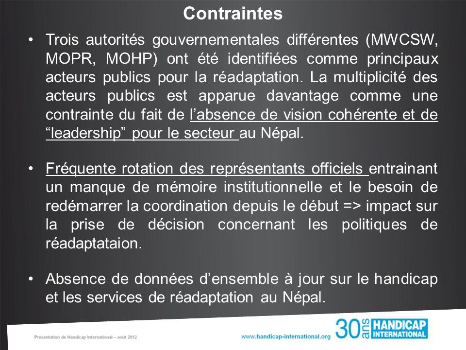 Contraintes Trois autorités gouvernementales différentes (MWCSW, MOPR, MOHP) ont été identifiées comme principaux acteurs publics pour la réadaptation.