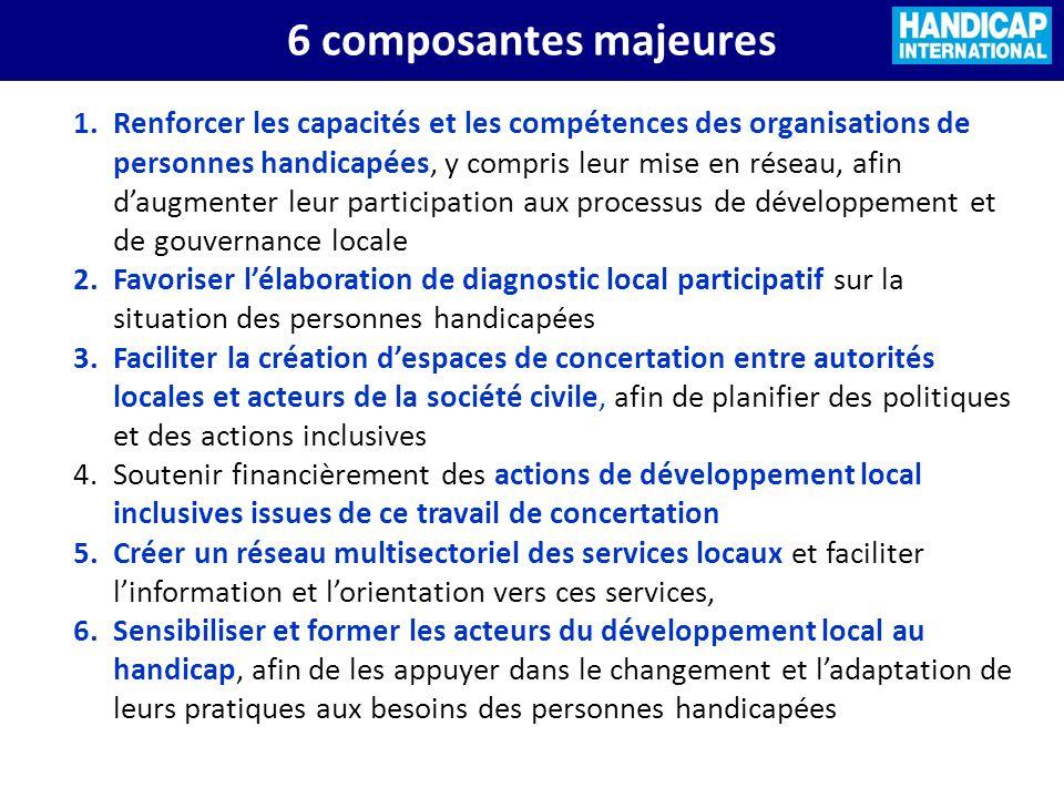 6 composantes majeures 1.Renforcer les capacités et les compétences des organisations de personnes handicapées, y compris leur mise en réseau, afin da