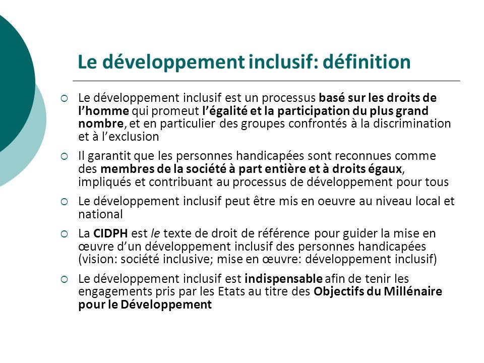 Le développement inclusif: définition Le développement inclusif est un processus basé sur les droits de lhomme qui promeut légalité et la participatio