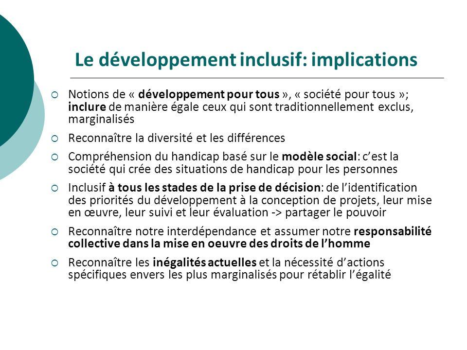 Le développement inclusif: implications Notions de « développement pour tous », « société pour tous »; inclure de manière égale ceux qui sont traditio