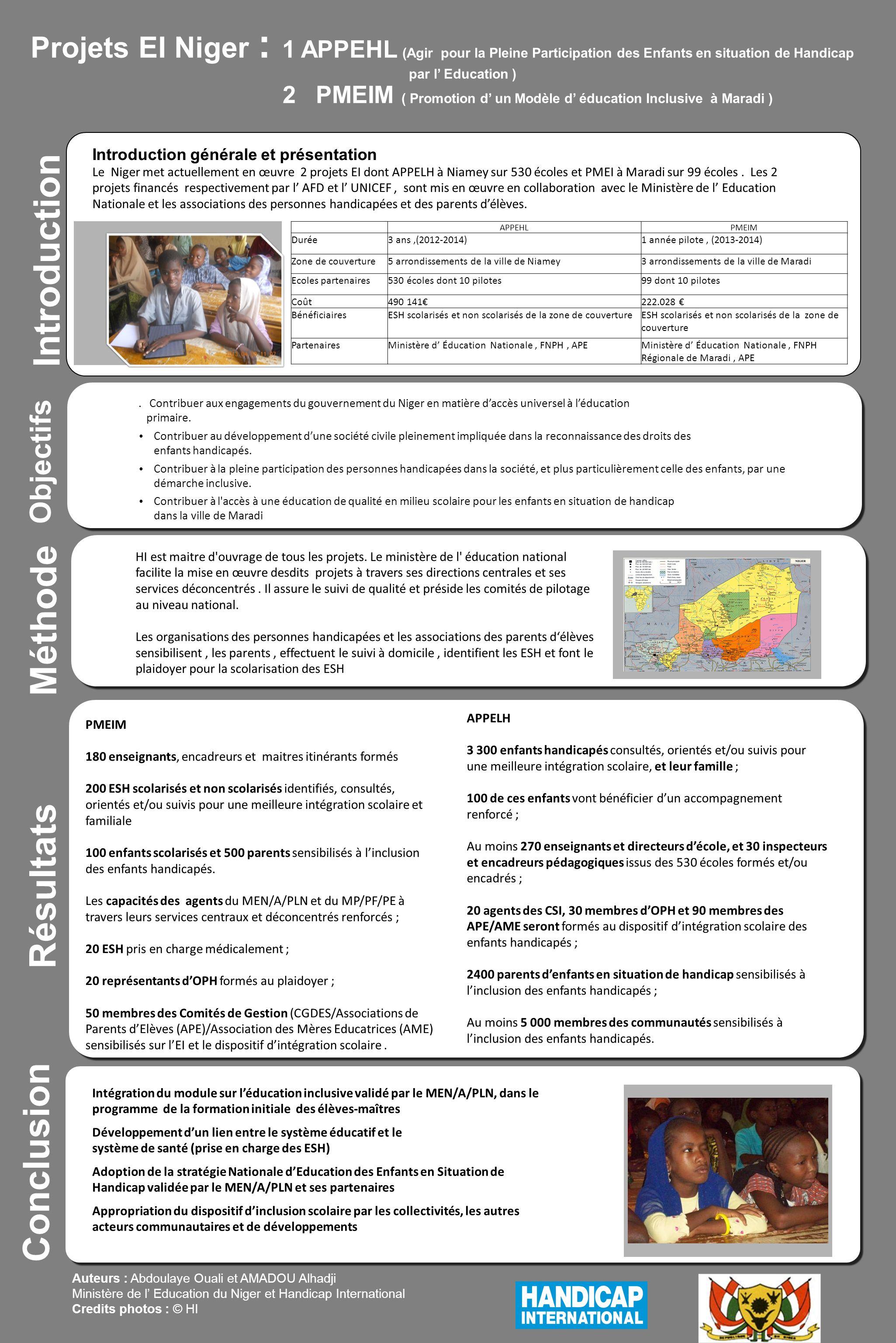 Projets EI Niger : 1 APPEHL (Agir pour la Pleine Participation des Enfants en situation de Handicap par l Education ) 2 PMEIM ( Promotion d un Modèle