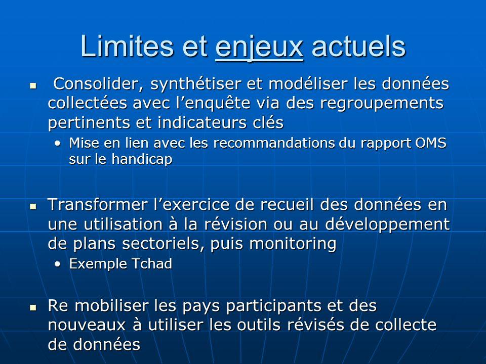 Limites et enjeux actuels Consolider, synthétiser et modéliser les données collectées avec lenquête via des regroupements pertinents et indicateurs cl