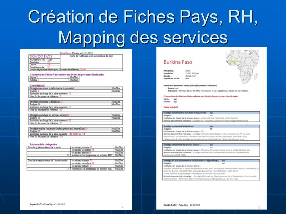 Création de Fiches Pays, RH, Mapping des services