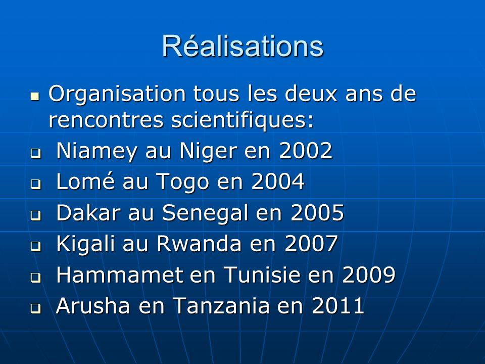 Réalisations Organisation tous les deux ans de rencontres scientifiques: Organisation tous les deux ans de rencontres scientifiques: Niamey au Niger e