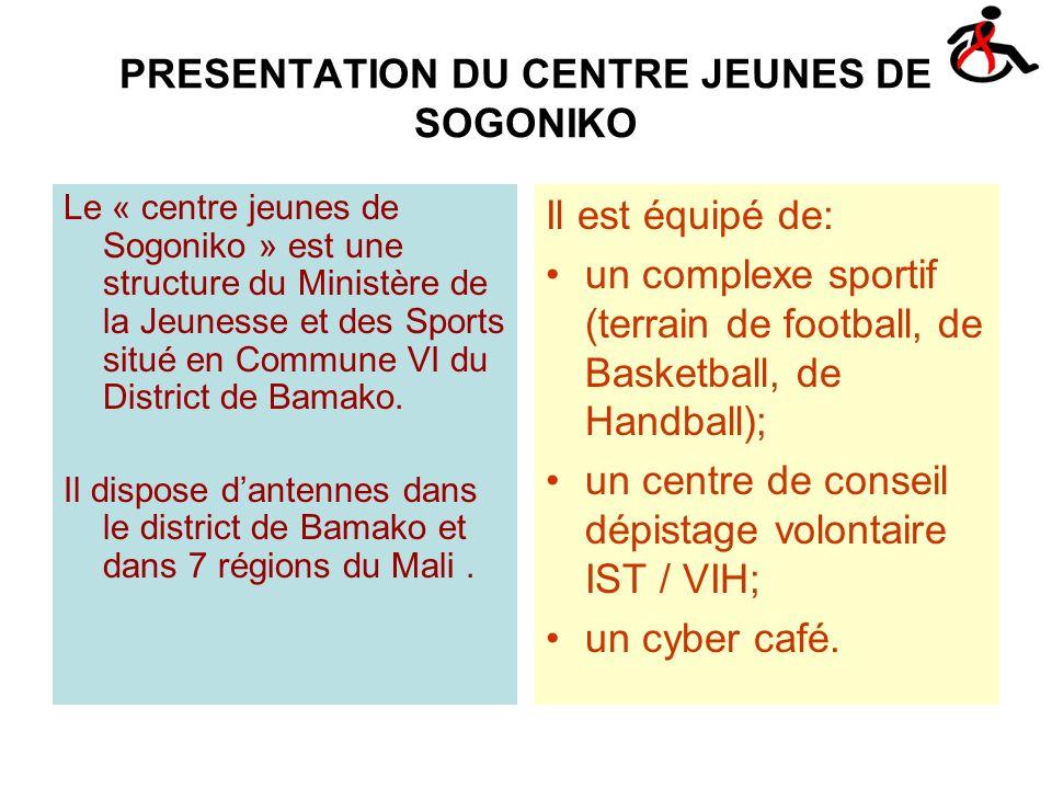 PRESENTATION DU CENTRE JEUNES DE SOGONIKO Le « centre jeunes de Sogoniko » est une structure du Ministère de la Jeunesse et des Sports situé en Commune VI du District de Bamako.