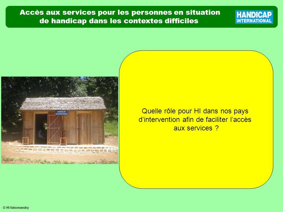 Accès aux services pour les personnes en situation de handicap dans les contextes difficiles Quelle rôle pour HI dans nos pays dintervention afin de f