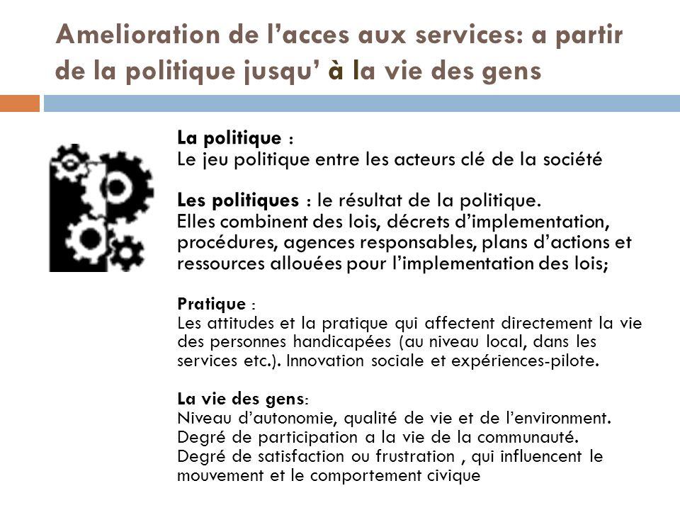 Amelioration de lacces aux services: a partir de la politique jusqu à la vie des gens La politique : Le jeu politique entre les acteurs clé de la société Les politiques : le résultat de la politique.