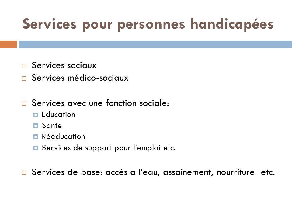 Services pour personnes handicapées Services sociaux Services médico-sociaux Services avec une fonction sociale: Education Sante Rééducation Services de support pour lemploi etc.