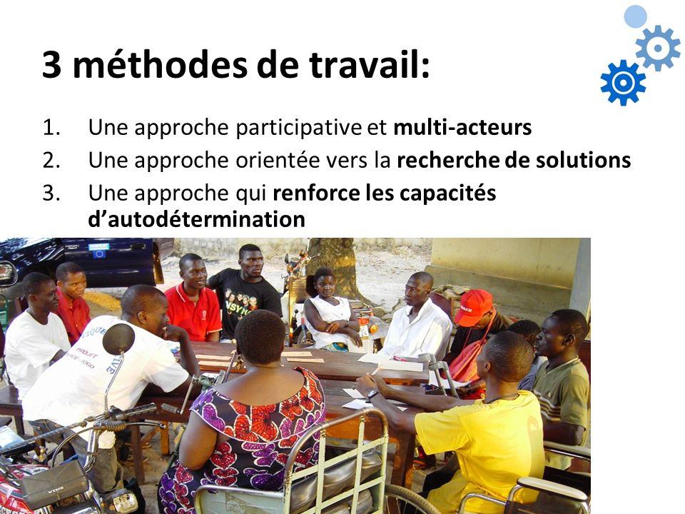 3 méthodes de travail: 1.Une approche participative et multi-acteurs 2.Une approche orientée vers la recherche de solutions 3.Une approche qui renforc