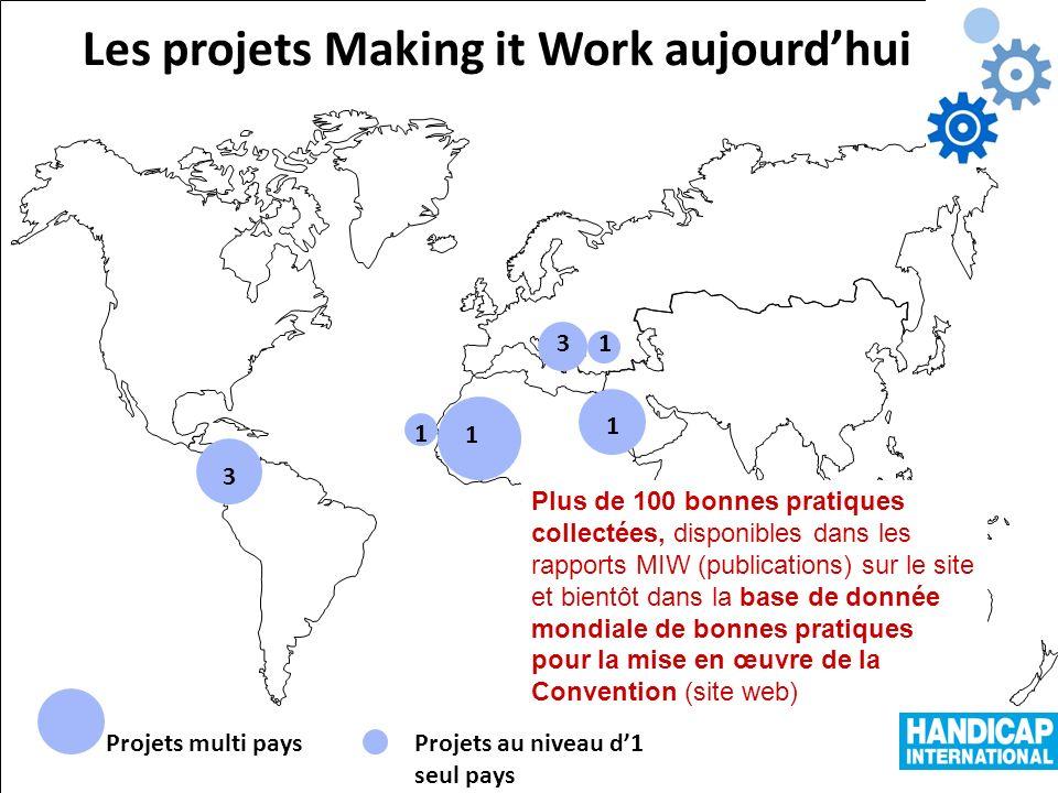 Projets multi paysProjets au niveau d1 seul pays Les projets Making it Work aujourdhui 3 1 1 31 1 Plus de 100 bonnes pratiques collectées, disponibles dans les rapports MIW (publications) sur le site et bientôt dans la base de donnée mondiale de bonnes pratiques pour la mise en œuvre de la Convention (site web)