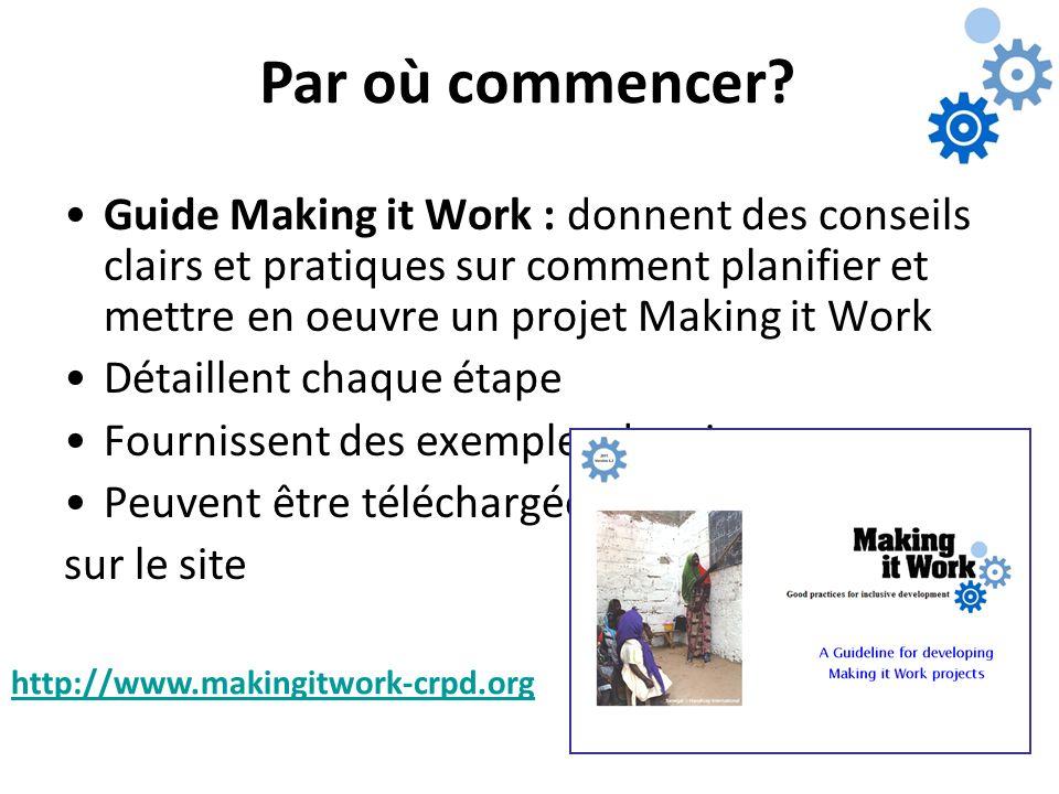 Par où commencer? Guide Making it Work : donnent des conseils clairs et pratiques sur comment planifier et mettre en oeuvre un projet Making it Work D