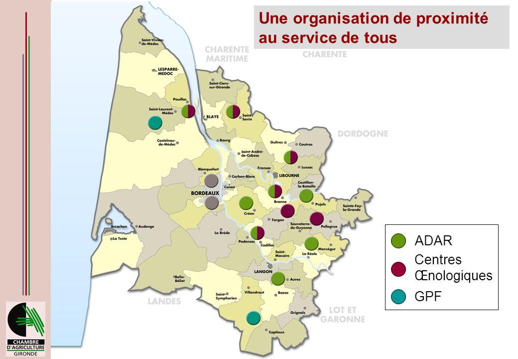 9 avril 2008 - Bordeaux Une organisation de proximité au service de tous ADAR Centres Œnologiques GPF