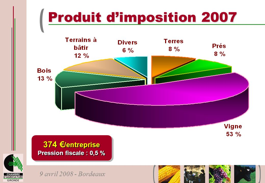 9 avril 2008 - Bordeaux Produit dimposition 2007 374 /entreprise Pression fiscale : 0,5 % 374 /entreprise Pression fiscale : 0,5 %