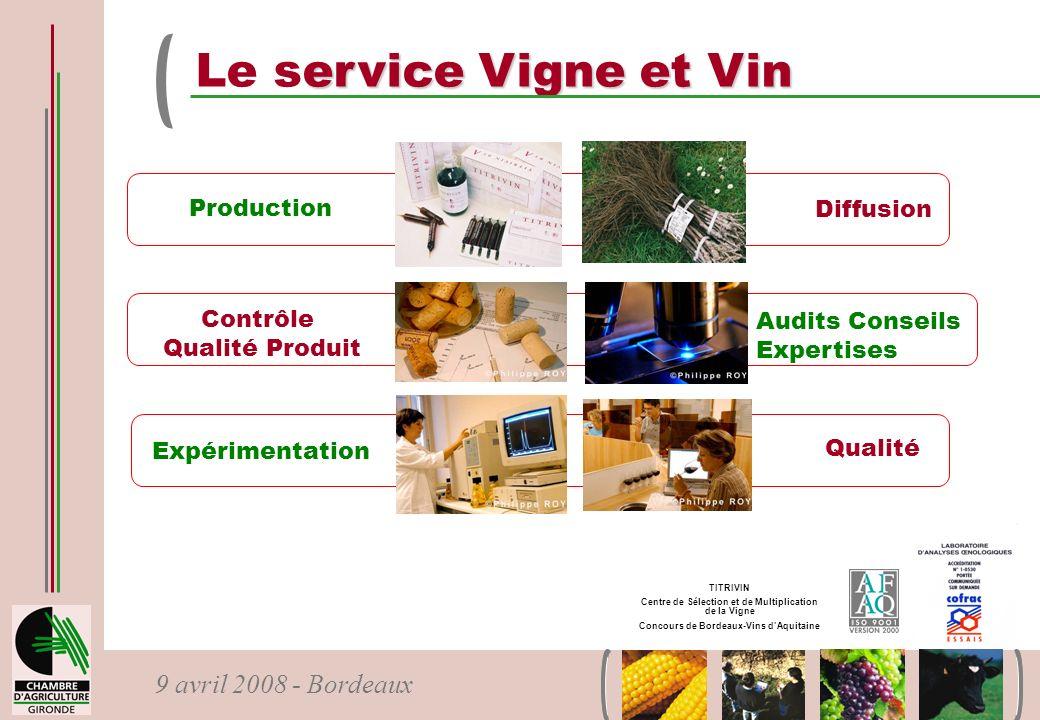 9 avril 2008 - Bordeaux ervice Vigne et Vin Le service Vigne et Vin Production Contrôle Qualité Produit Expérimentation Audits Conseils Expertises Dif