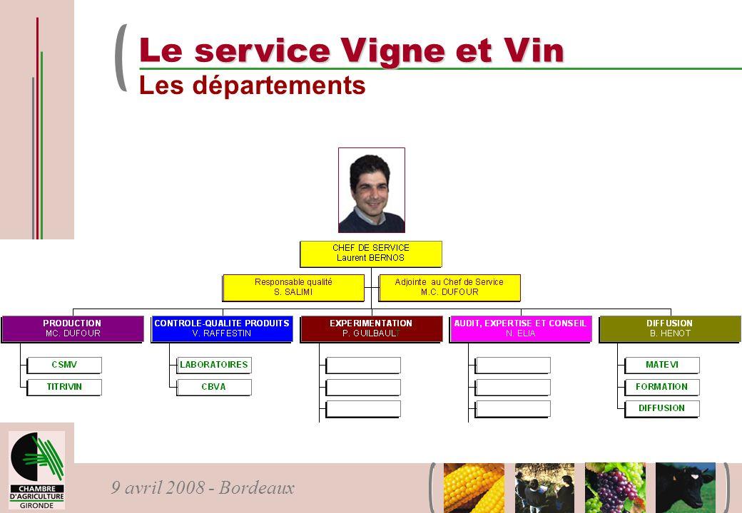9 avril 2008 - Bordeaux ervice Vigne et Vin Le service Vigne et Vin Les départements