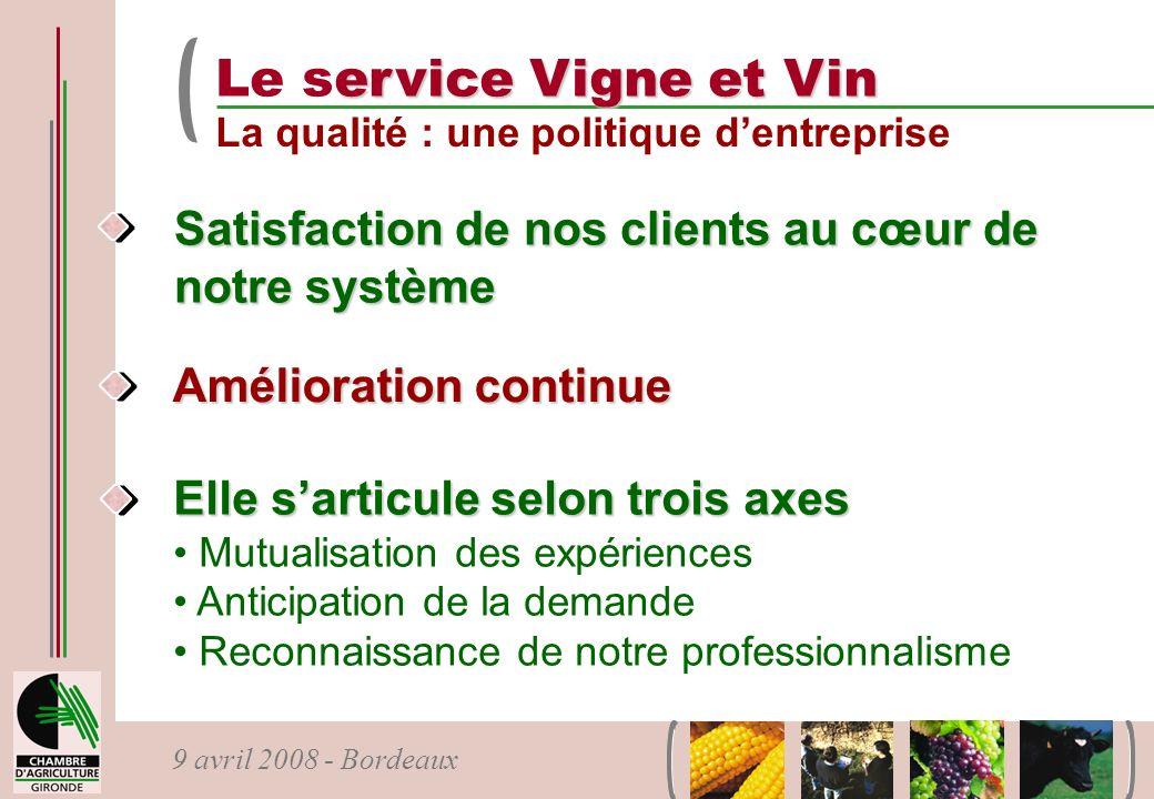 9 avril 2008 - Bordeaux Satisfaction de nos clients au cœur de notre système Amélioration continue Elle sarticule selon trois axes Mutualisation des e