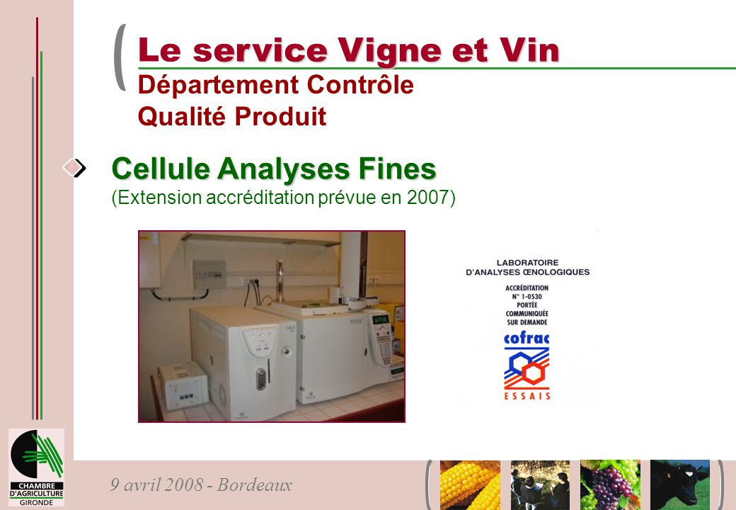 9 avril 2008 - Bordeaux Cellule Analyses Fines Cellule Analyses Fines (Extension accréditation prévue en 2007) ervice Vigne et Vin Le service Vigne et