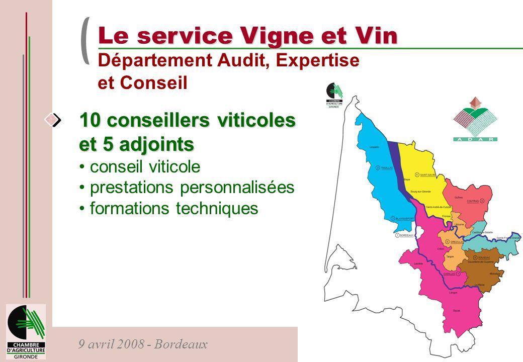 9 avril 2008 - Bordeaux ervice Vigne et Vin Le service Vigne et Vin Département Audit, Expertise et Conseil 10 conseillers viticoles et 5 adjoints con