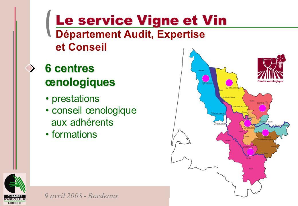 9 avril 2008 - Bordeaux ervice Vigne et Vin Le service Vigne et Vin Département Audit, Expertise et Conseil 6 centres œnologiques prestations conseil