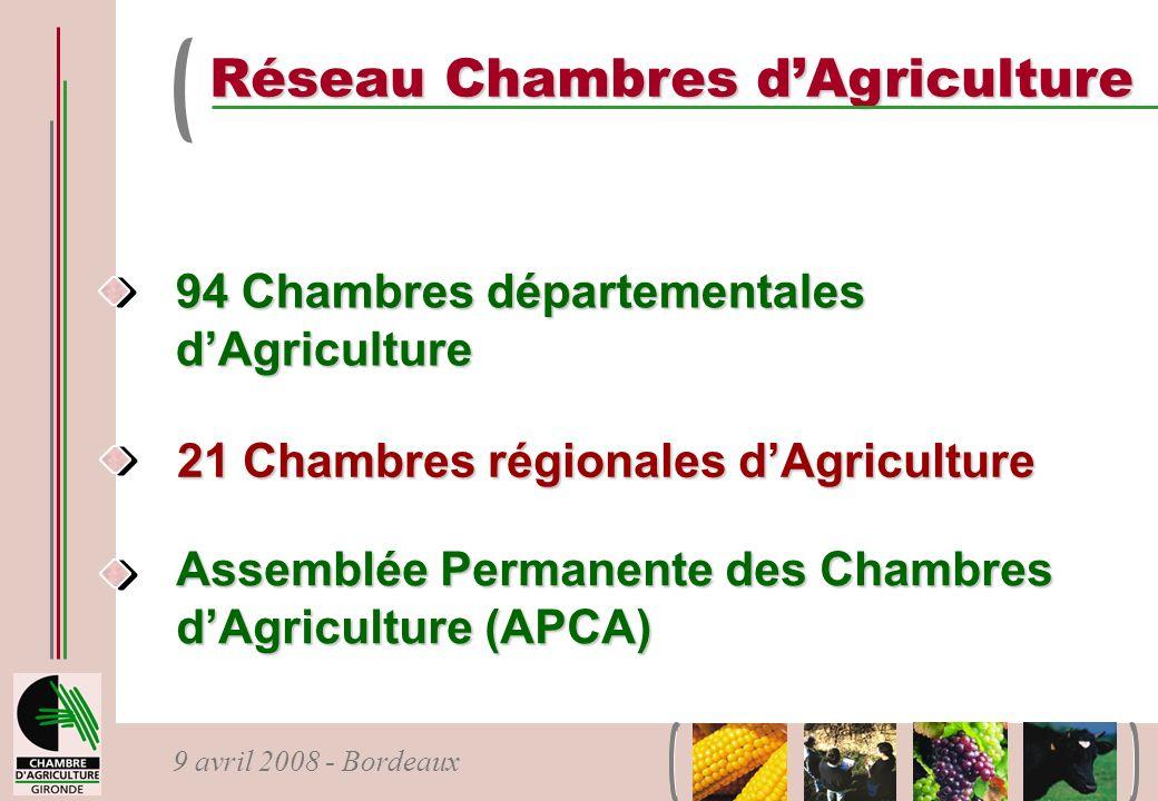 9 avril 2008 - Bordeaux 94 Chambres départementales dAgriculture 21 Chambres régionales dAgriculture Assemblée Permanente des Chambres dAgriculture (A